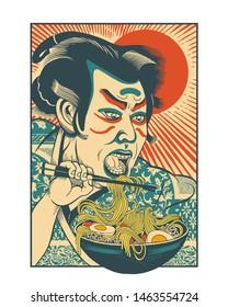 Ramen eating samurai retro poster design