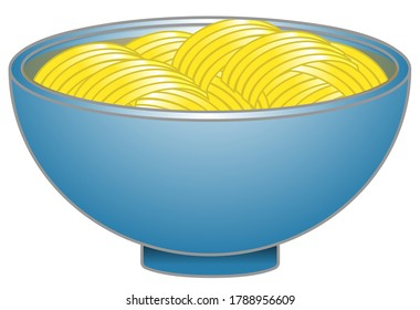 Ramen noodle bowl design, yellow noodles with soup in a shiny blue bowl, flat vector illustration