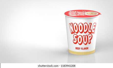 ramen noodle cup front right 3d rendering
