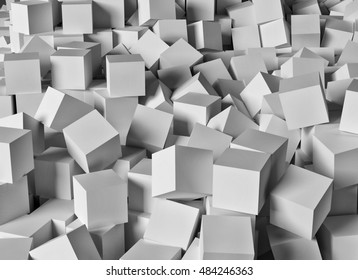 Random boxes piled up in a display of chaos