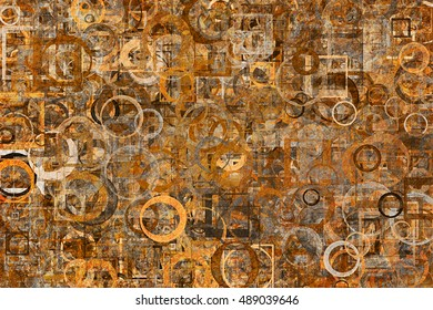 Random circle, square & rectangle shape, grunge rough & dirty, digital generative art for design texture & background