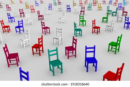 Random empty chairs of different colors, symbol of inclusion, disorganization and freedom, 3d concept image