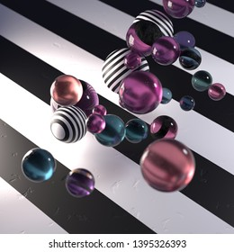 Random glass and striped spheres on a black and white striped background, abstract 3D render / rendering.