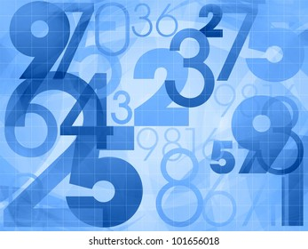 random numbers modern blue background illustration