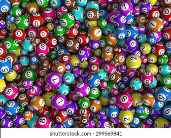 random sized lottery balls, top view