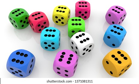 Randomly colorful dices.3d illustration