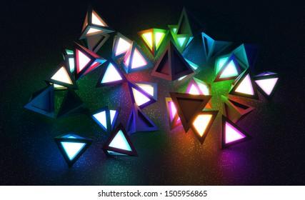 Randomly spaced tetrahedrons emitting colored light. 3D render / rendering