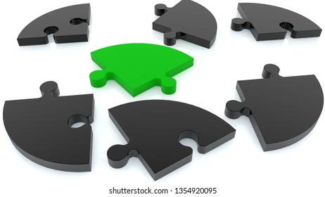 Randomly stacked puzzle in green and black on white.3d illustration