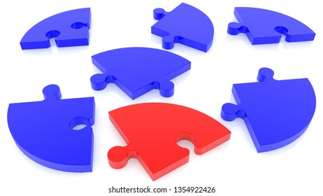Randomly stacked puzzle in red and blue on white.3d illustration