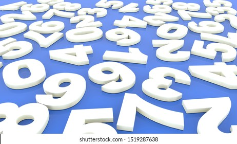 Randomly white numbers on blue.3d illustration