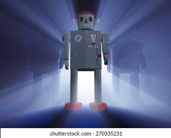 A rank of 1950s style tin toy robots with one leading in front, dramatically back lit on a deep blue background with light rays shinning between the robots.
