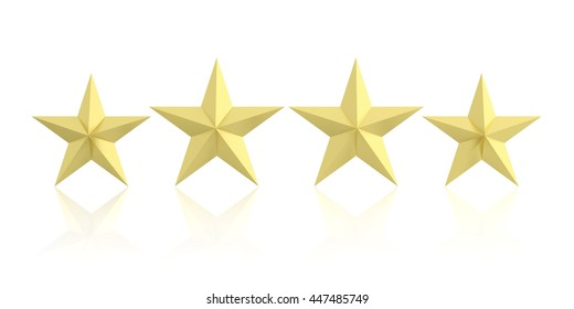 Ranking, rating concept. Four golden stars isolated on white background. 3d illustration
