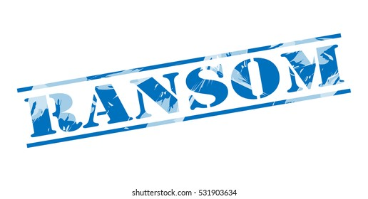 ransom blue stamp on white background