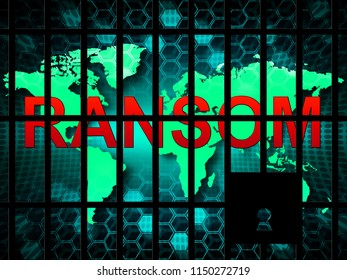 Ransom Computer Hacker Data Extortion 3d Illustration Shows Ransomware Used To Attack Computer Data And Blackmail