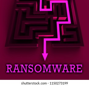 Ransom Ware Extortion Security Risk 3d Rendering Shows Ransomware Used To Attack Computer Data And Blackmail