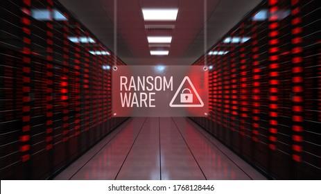 Ransomware alert in the data center. 3d illustration.