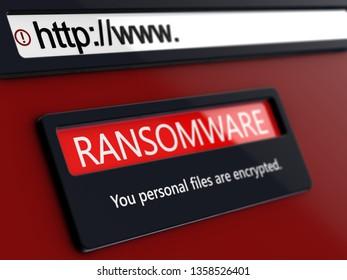 Ransomware alert message on conceptual design web page 3D render