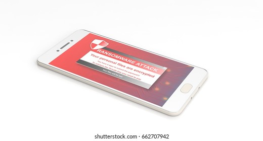 Ransomware alert on a mobile phone screen - white background. 3d illustration
