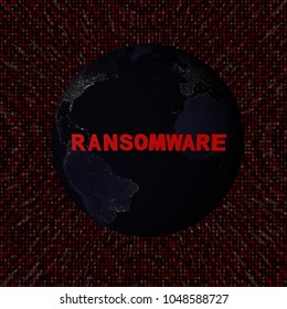 Ransomware text with earth by night and red hex code 3d illustration - elements of this image furnished by NASA