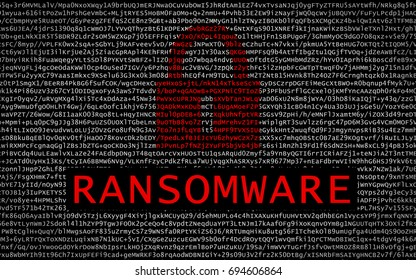 Ransomware text with red lock over encrypted text - cyber crime