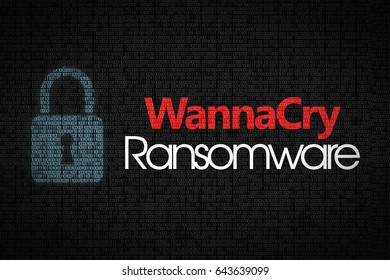 Ransomware WannaCry text on dark binary code background.