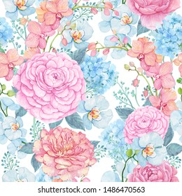 Ranunculus and Orchid .Floral pattern for fabric.Illustration watercolor