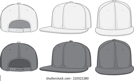 Rap cap, front, back and side view. Raster version