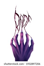 rape typography with an evil hand illustration on white background