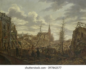 The Rapenburg in Leiden after Explosion of Gunpowder-Ship on Jan.12, 1807, by Johannes Jelgerhuis, Dutch painting, oil on canvas. Spectators and soldiers view the disaster scene from a wrecked bridge,