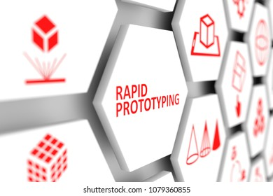 Rapid prototyping concept cell blurred background 3d illustration