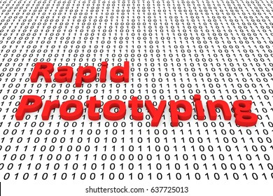 Rapid prototyping in the form of binary code, 3D illustration