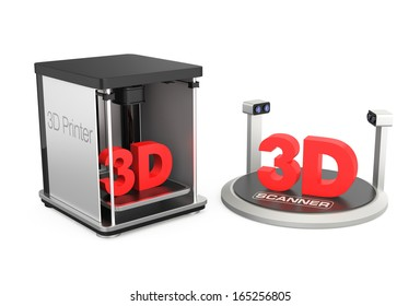 Rapid prototyping units on white. 3D printer and 3D scanner. Clipping path available.