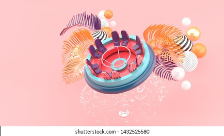 Rapids Adventure Floating on a fountain surrounded by trees and colorful balls on a pink background.-3d rendering.