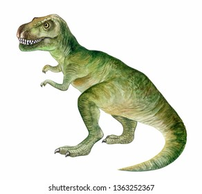 Raptor tyrannosaur dinosaur. Hand painted dinosaurs isolated on white background. Predator animal of the prehistoric period. Illustration. Watercolor. Template. Hand drawing. Clipart. Close-up