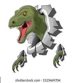 Raptor Tyrannosaurus or T-rex illustration of logo template