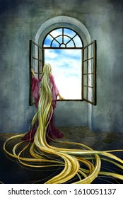 Rapunzel looking at the outside world from the tower window
