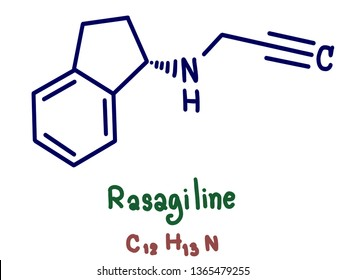 Rasagiline (Azilect, TVP-1012, N-propargyl-1(R)-aminoindan) is an irreversible inhibitor of monoamine oxidase-B used as a monotherapy to treat symptoms in early Parkinson's disease. Illustration