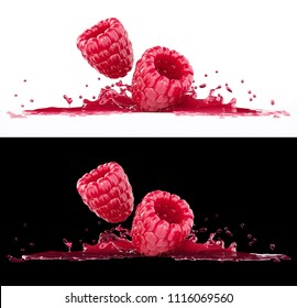 Raspberry berries in splash of fruity juice on white and black backgrounds. 3d rendered illustration.