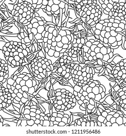 raspberry blackberry with leaves seamless pettern black outline on isolated on white background for site, blog, coloring book, fabric.