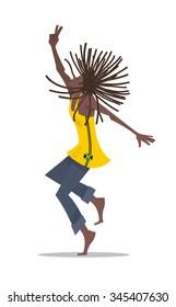 Rasta man dancing Reggae - vector illustration