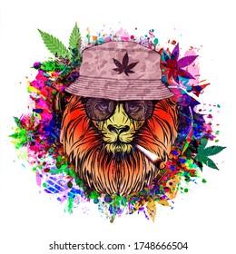 rastafari lion illustration with cannabis