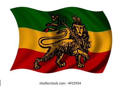 Rastafarian flag with lion - clipping path included