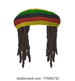 Rastafarians hat with dreadlocks isolated on white. 3D rendering