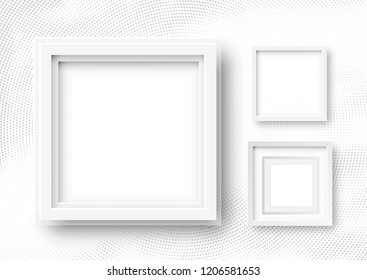 Raster 3d Illustration of Realistic Square Frames. White Blank Picture Frame Mockup Templates on Halftone Background