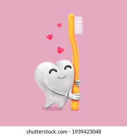 Raster  3D illustration of white healthy and happy tooth hugs a yellow toothbrush at pink background. Funny cute cartoon character about oral hygiene. Taking care of teeth concept. Kawaii style.