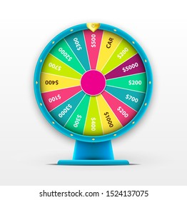 Raster 3D Spinning Fortune Wheel, Realistic Style Lucky Roulette Illustration