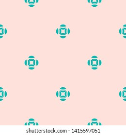 Raster abstract floral seamless pattern. Simple minimal geometric ornament in light pink and turquoise color. Elegant graphic background texture with small flower shapes, crosses. Repeatable design