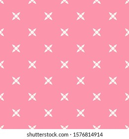Raster abstract minimalist floral seamless pattern. Simple pink and white geometric background with small flowers, crosses. Subtle minimal ornament texture. Cute colorful repeated decorative design