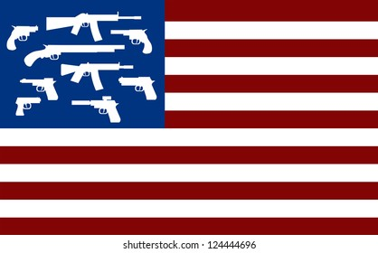 raster american flag with guns instead of stars