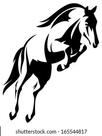 raster - beautiful jumping horse black and white outline (additional format also available)